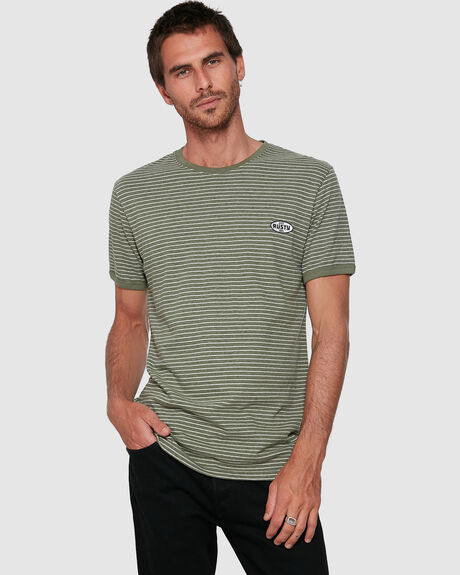 MENS RESIN LINES SHORT RINGER SLEEVE TEE