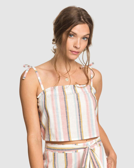 WOMENS PALM LIFE STRAPPY CROP TOP