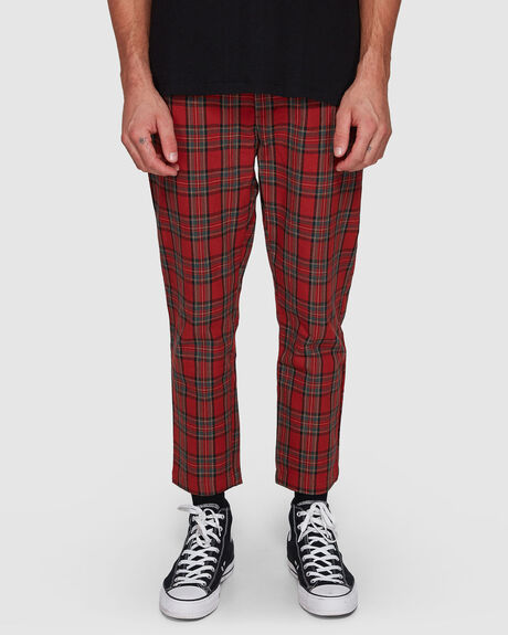 RED PLAID PLEATED WORK PANT