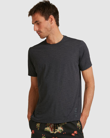MENS HEATHERED VENTX SOLID S/S