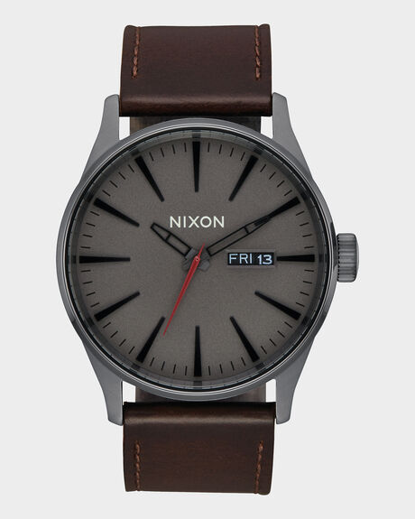 SENTRY LEATHER GUNMETAL / BLACK / DARK BROWN WATCH