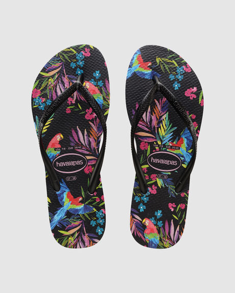 SLIM FLORAL TROPICAL (BIRDS) BLACK/BLACK