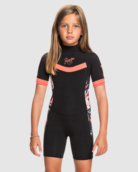 GIRLS 2-7 SYNCRO 2/2MM SHORT SLEEVE BACK ZIP SPRINGSUIT WETSUIT