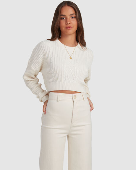CABLE CROP CREW SWEATER