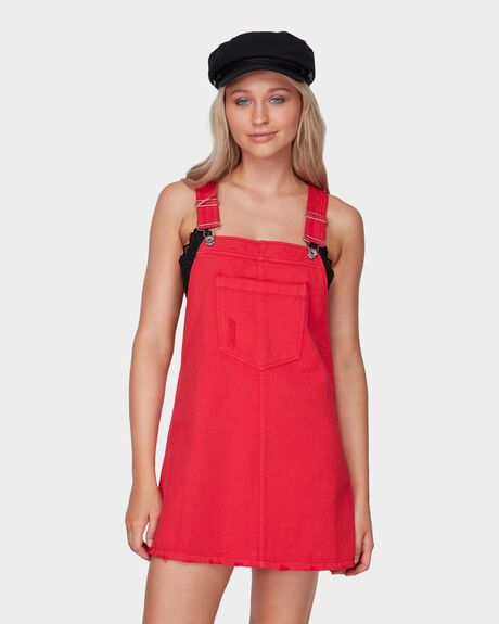 COLOURED DENIM PINAFORE DRESS