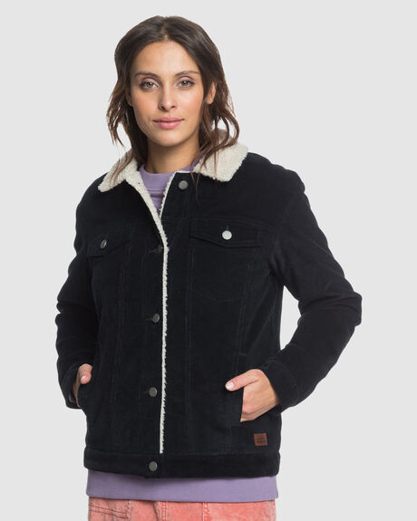 WOMENS DETAILS MATTER SHERPA LINED CORD JACKET