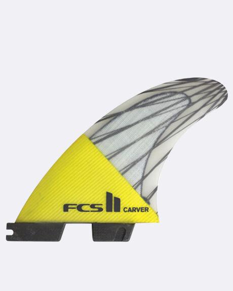 FCS II CARVER PC CARBON YELLOW MEDIUM TRI RETAIL FINS