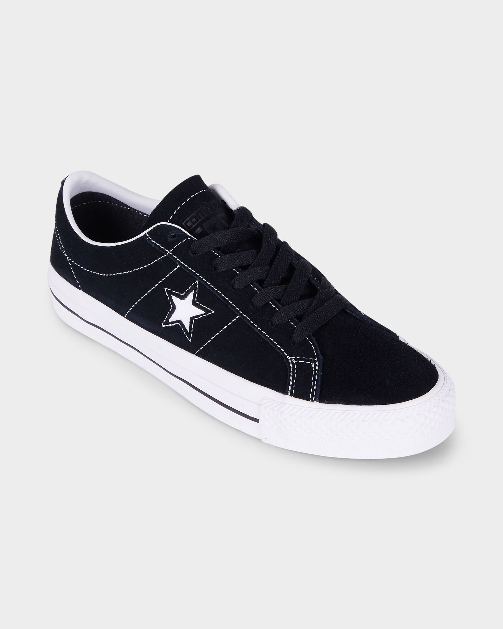 Black CONVERSE ONE STAR PRO LOW SUEDE BLACKWHITE SHOE