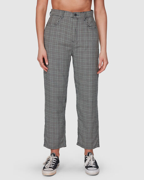 SHELBY HOUNDSTOOTH HIGH WAIST WIDE LEG PANT