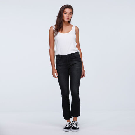 Kitty Crop Flare Washed Black