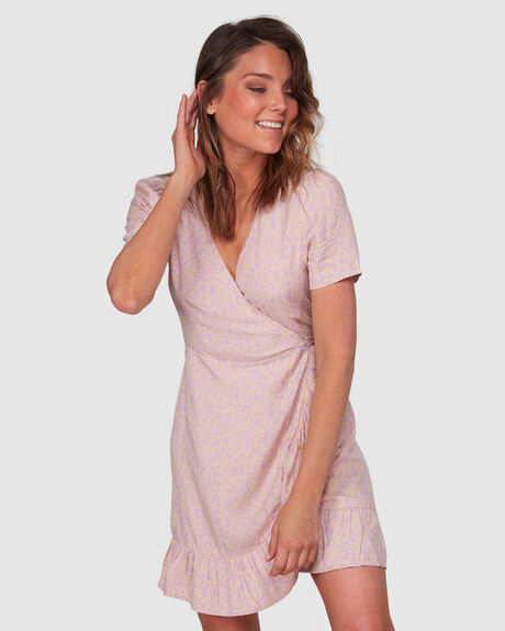 LAVENDER SKY WRAP DRESS