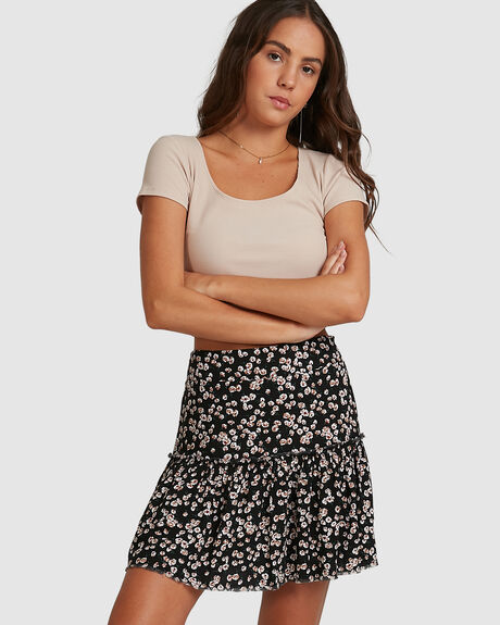 WOMENS RUFFLED PRINT SKIRT