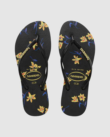 SLIM FLORAL BLACK (YELLOW)