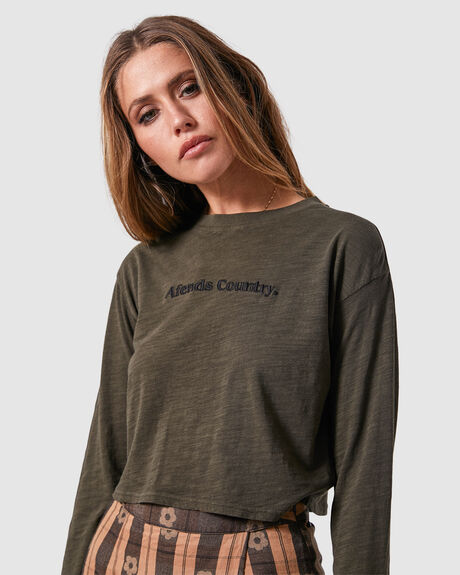 WOMENS COUNTRY CROPPED LONG SLEEVE TEE