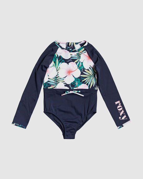 GIRLS 2-7 PEACHY VIBES LONG SLEEVE UPF 50 ONE-PIECE RASHGUARD