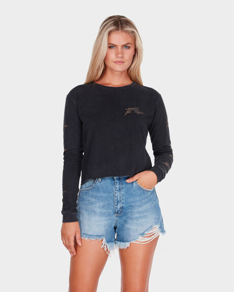 GOTHIC R LONG SLEEVE CROP TEE