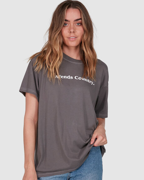 AFENDS COUNTRY - OVERSIZED TEE - CHARCOAL