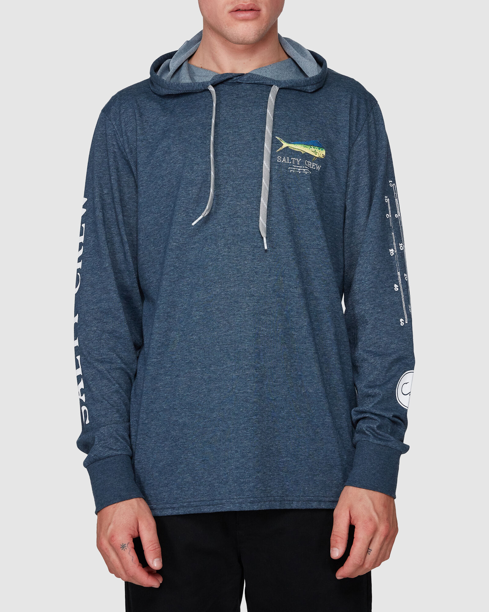 Salty Crew Angry Bull Tech Pullover Hoody Blue New