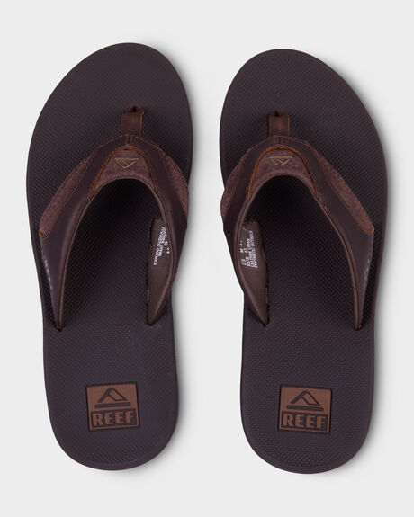 REEF LEATHER FANNING BROWN THONG
