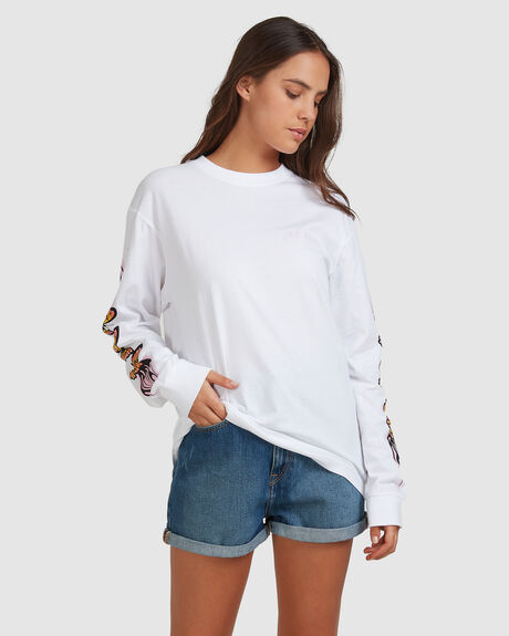 WOMENS FLAMING BUTTERFLY RETRO FIT LONG SLEEVE TEE