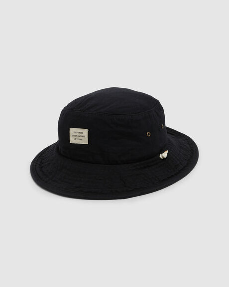 WAXED WIDE BRIM BUCKET HAT BLACK