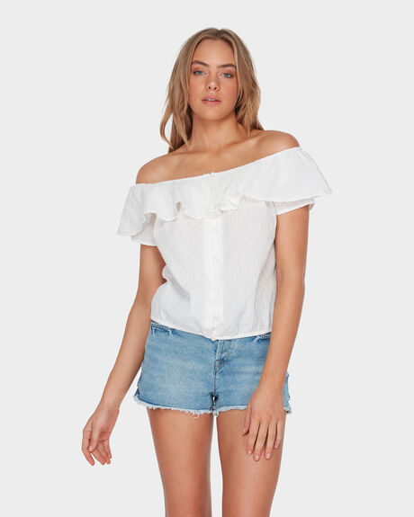 DESERT ESCAPE OFF SHOULDER RUFFLE TOP