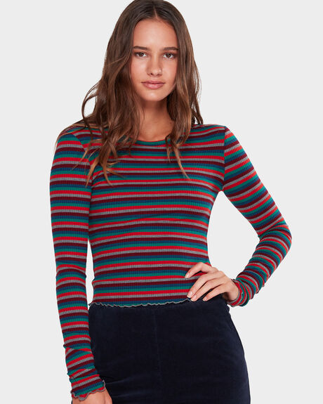 STRIPE RIB LONG SLEEVE TEE
