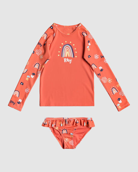 GIRLS RAINBOW AND SUN LS UPF50 RASH VEST SET