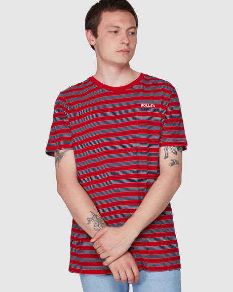 OLD MATE LOGO TEE FAST TIME STRIPE