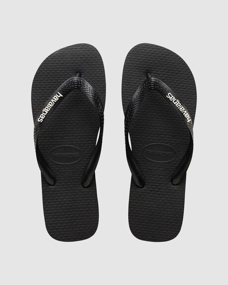 HAVAIANAS LOGO FILETE BLACK WHITE THONG