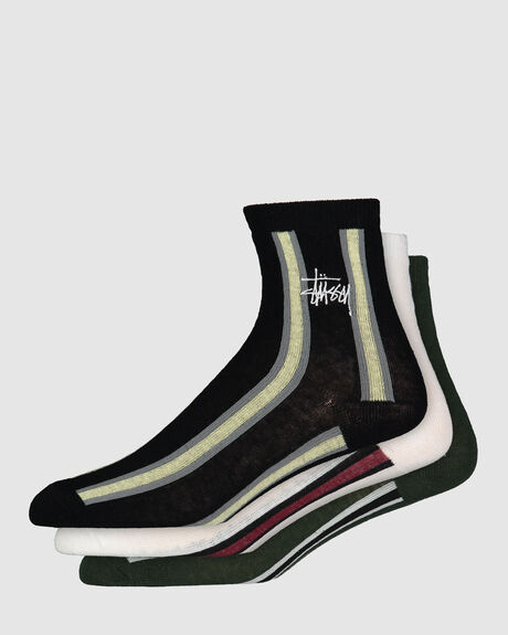 STUSSY VERTICAL STRIPE 3 PACK SOCK