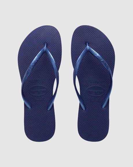 HAVAIANAS SLIM METALLIC NAVY BLUE THONG