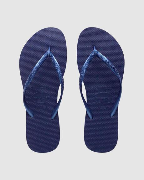 HAVAIANAS SLIM METALLIC NAVY BLUE THONG