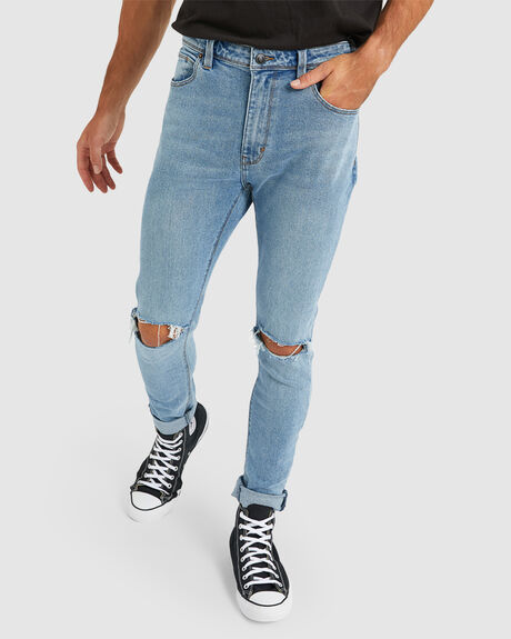 MENS A DROPPED SKINNY TURN UP JEAN