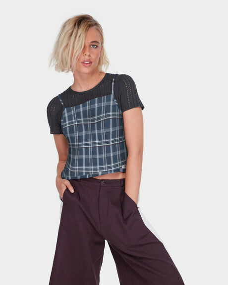 LOOPED CHECK CAMI TOP