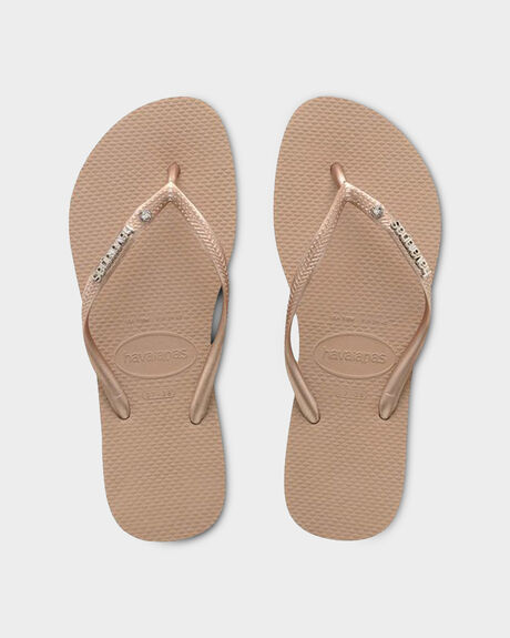 8909619633690 SLIM METAL LOGO CRYSTAL SW ROSE GOLD SILVER · HAVAIANAS