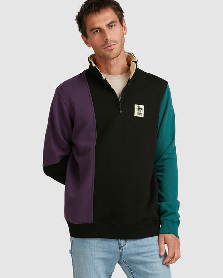 COLOUR PANEL 1/4 ZIP CREW