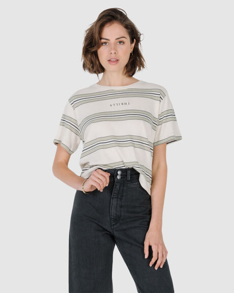 STACKED STRIPE CROP TEE