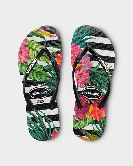 KIDS SLIM FLORAL TROPICAL (STRIPES) THONGS