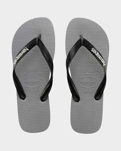 RUBBER LOGO GREY STEEL/WHITE THONGS
