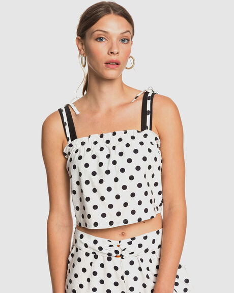 WOMENS PALM LIFE DOTS STRAPPY CROP TOP