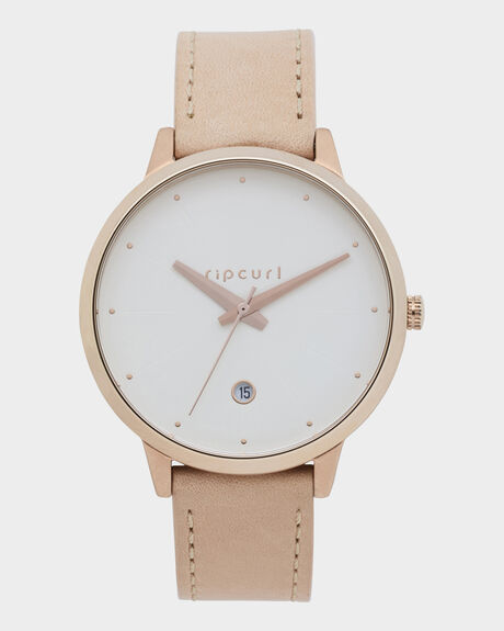 RIPCURL LOLA SLIM ROSE GOLD LEATHER WATCH