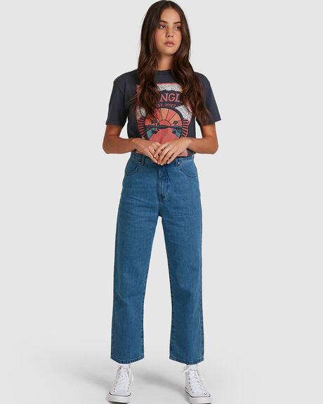 SHELBY - HEMP DENIM HIGH WAIST WIDE LEG JEAN - CLASSIC BLUE