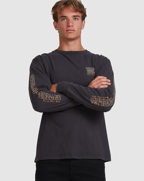 THRILLS CYCLES MERCH FIT LONG SLEEVE TEE - HERITAGE BLACK