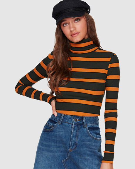 STRIPE ROLL NECK TEE