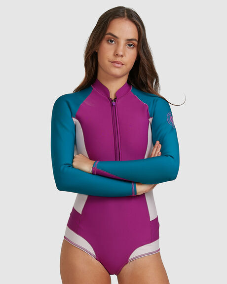 WOMENS POP SURF 1MM LONG SLEEVE FRONT ZIP BIKINI CUT SHORT SPRINGSUIT WETSUIT