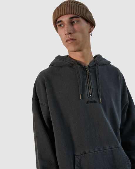 NYLON HALF ZIP PULL ON HOOD