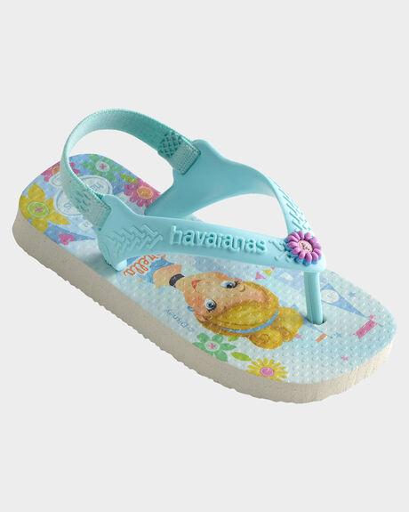 BABY NEW DISNEY PRINCESS WHITE ICE BLUE THONGS