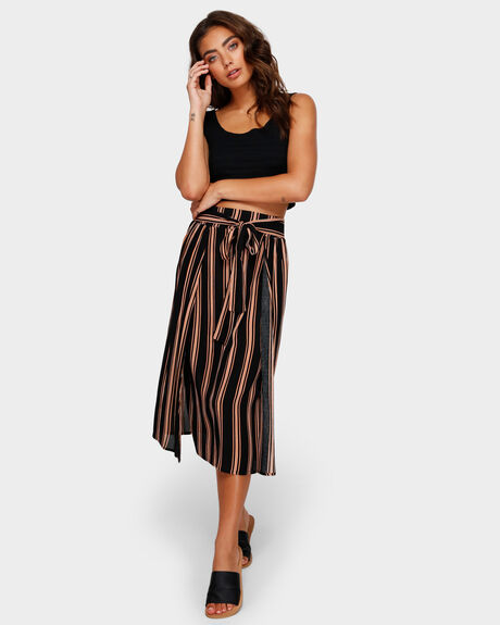 DOWN STRIPE MIDI SKIRT