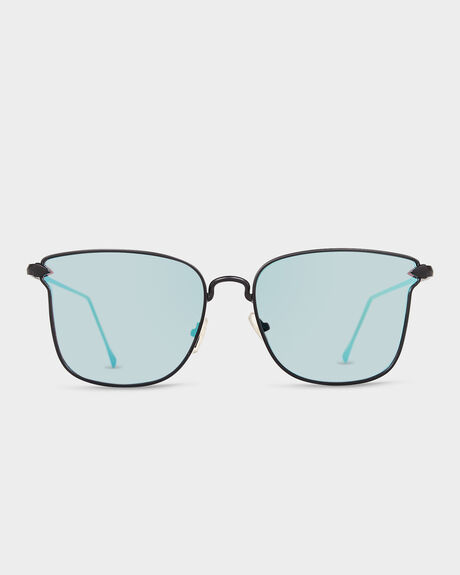 KAJA BLACK SATIN/SKY BLUE CHROME